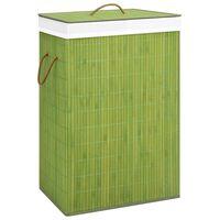 vidaXL veļas grozs, zaļš bambuss