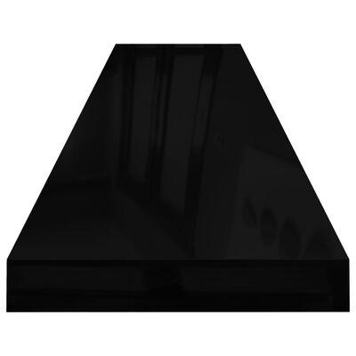 vidaXL sienas plaukti, 4 gab., spīdīgi melni, 120x23,5x3,8 cm, MDF