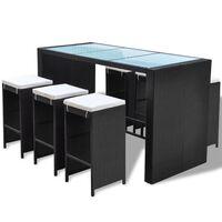 vidaXL 7-daļīgs dārza bāra mēbeļu komplekts ar matračiem, PE, melns