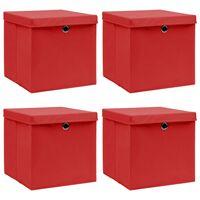 vidaXL uzglabāšanas kastes ar vāku, 4 gab., 32x32x32 cm, sarkanas