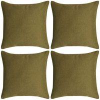 vidaXL spilvenu pārvalki, 4 gab., 80x80 cm, linam līdzīgs zaļš audums