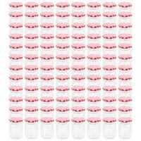 vidaXL ievārījuma burciņas, balti sarkani vāciņi, 96 gab., 230 ml