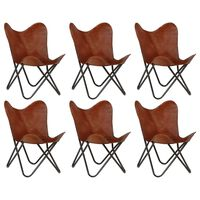 vidaXL tauriņa formas krēsli bērniem, 6 gab., brūna dabīgā āda