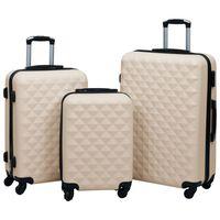 vidaXL cieto koferu komplekts, 3 gab., ABS, zelta krāsa