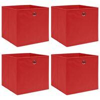 vidaXL uzglabāšanas kastes, 4 gab., sarkanas, 32x32x32 cm