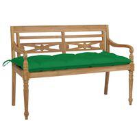 vidaXL sols ar zaļu matraci, 120 cm, masīvs tīkkoks