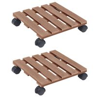 vidaXL puķu podu paliktņi ar riteņiem, 2 gab., brūni, 30x30x7,5cm, WPC