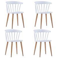 vidaXL virtuves krēsli, 4 gab., balta plastmasa
