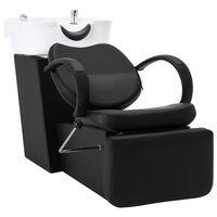vidaXL frizieru krēsls ar izlietni, melns, balts, mākslīgā āda