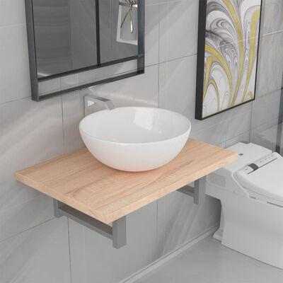 vidaXL divdaļīgs vannasistabas mēbeļu komplekts, ozolkoka krāsa