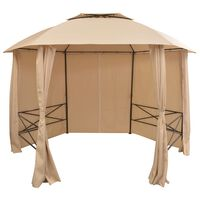 vidaXL dārza nojume, telts ar aizkariem, 360x265 cm, sešstūraina