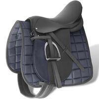 Zirgu seglu/sedlu komplekts 44.45 cm, āda melni 12 cm 5 piederumi