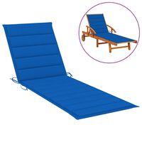 vidaXL sauļošanās krēsla matracis, koši zils, 200x60x4 cm, audums