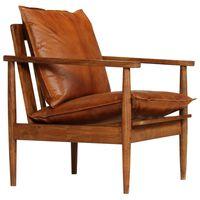 vidaXL atpūtas krēsls, brūna dabīgā āda, akācijas koks