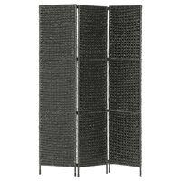 vidaXL 3-paneļu istabas aizslietnis, 116x160 cm, ūdens hiacinte, melns