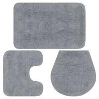 vidaXL vannasistabas paklāji, 3 gab., pelēks audums