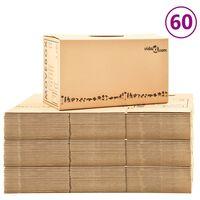 vidaXL pārvākšanās kastes, 60 gab., kartons, XXL, 60x33x34 cm