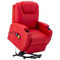 vidaXL masāžas krēsls, paceļams, sarkana mākslīgā āda