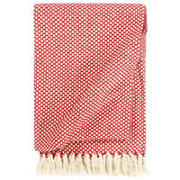 vidaXL pleds, sarkans, 125x150 cm, kokvilna
