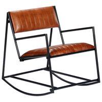 vidaXL šūpuļkrēsls, brūna dabīgā āda