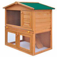 vidaXL trušu un citu mazu dzīvnieku būris, āra māja, koks, 3 durvis