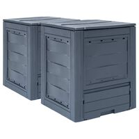 vidaXL dārza komposta kastes, 2 gab., pelēkas, 60x60x73 cm, 520 L