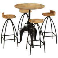 vidaXL bāra galds un krēsli, 5 gab., mango masīvkoks