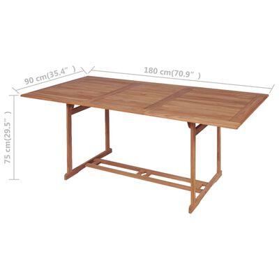 vidaXL dārza galds, 180x90x75 cm, masīvs tīkkoks