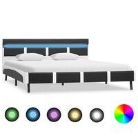 vidaXL gultas rāmis ar LED, pelēka mākslīgā āda, 140x200 cm