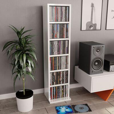 vidaXL CD skapītis, 21x20x88 cm, skaidu plāksne, spīdīgi balts