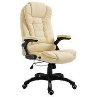vidaXL biroja krēsls, krēmkrāsas mākslīgā āda