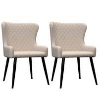 vidaXL virtuves krēsli, 2 gab., krēmkrāsas audums