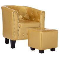 vidaXL klubkrēsls ar kāju soliņu, spīdīgi zeltaina mākslīgā āda