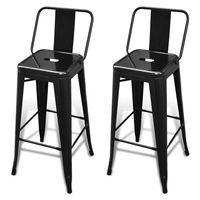 vidaXL bāra krēsli, 2 gab., melns tērauds