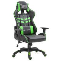 vidaXL datorspēļu krēsls, zaļa mākslīgā āda