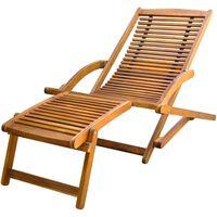 vidaXL pludmales krēsls ar kāju balstu, akācijas masīvkoks