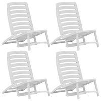 vidaXL salokāmi pludmales krēsli, 4 gab., balta plastmasa