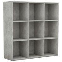 vidaXL grāmatu plaukts, betona pelēks, 98x30x98 cm, skaidu plāksne