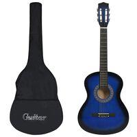 """vidaXL klasiskā ģitāra iesācējiem ar somu, 3/4, 36"""", zila"""