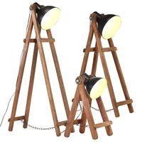 vidaXL grīdas lampas, 3 gab., mango masīvkoks, E27, melna