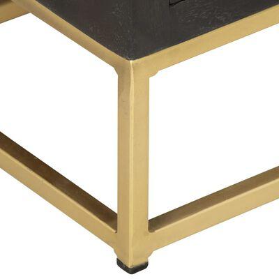 vidaXL atvilktņu skapītis, melna, zelta krāsa, 45x30x105cm, mango koks
