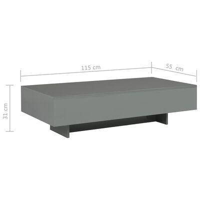 vidaXL kafijas galdiņš, 115x55x31 cm, spīdīgi pelēks MDF