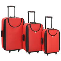 vidaXL mīkstie koferi ar riteņiem, 3 gab., sarkans oksforda audums