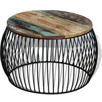 vidaXL kafijas galdiņš, apaļš, pārstrādāts masīvkoks, 68x37 cm
