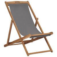 vidaXL saliekams pludmales krēsls, masīvs tīkkoks, pelēks