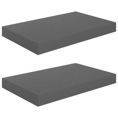 vidaXL sienas plaukti, 2 gab., spīdīgi pelēki, 40x23x3,8 cm, MDF