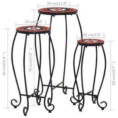 vidaXL mozaīkas galdi, 3 gab., sarkanbrūni ar baltu, keramika