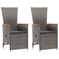 vidaXL atgāžami dārza krēsli, 2 gab., matrači, pelēka PE rotangpalma