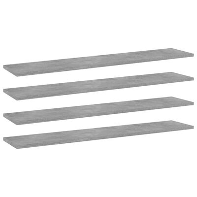 vidaXL plauktu dēļi, 4 gab., betonpelēki, 100x20x1,5cm, skaidu plāksne