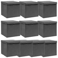 vidaXL uzglabāšanas kastes ar vāku, 10 gab., pelēkas, 32x32x32 cm